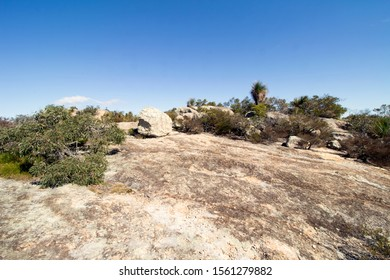 View of the rocky terain and sparce vegetation on the summit of  Biggenden Bluff at Mount Walsh National Park in the North Burnett district of Queensland, Australia.