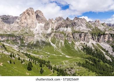 View of the Roda di Vael (Rosengarten group) in the Italian Dolomites