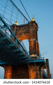 View of the Roebling suspension bridge tower, bridge that connects Cincinnati with Kentucky.