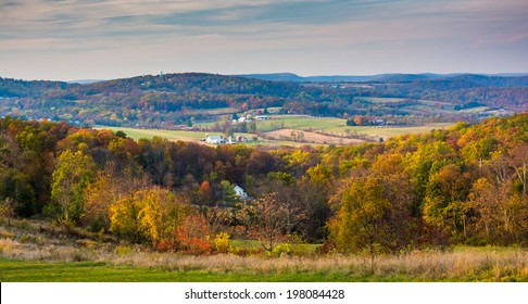 View of rolling hills in rural Frederick County, Maryland.