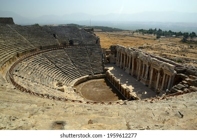 view to Roman amfitheater in Pamukkale, the ancient city of Hierapolis Turkey