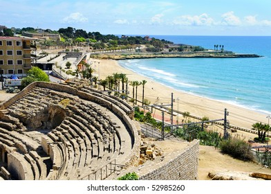 A view of the roman amphitheater of Tarragona, in Spain