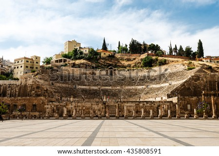View at the roman amphitheatre in Amman, Jordan