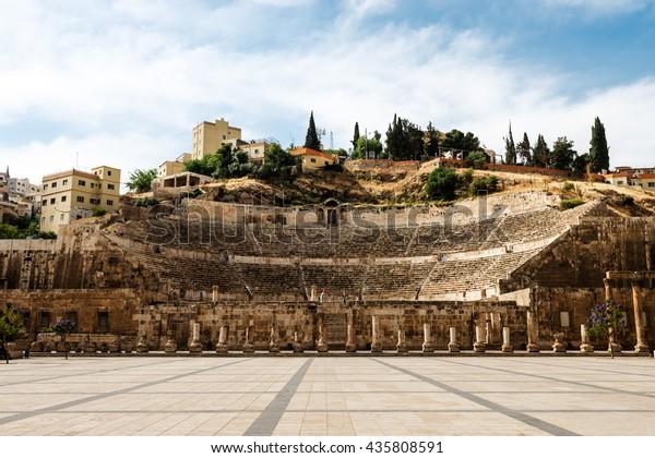 View at the roman amphitheatre in Amman, Jordan
