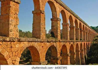 view of the roman aqueduct Pont del Diable, Tarragona, Spain