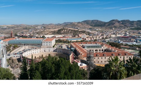 view of the Roman arena and the suburb of Cartagena city, region of Murcia, Spain