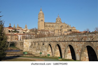 View of the roman bridge and the cathedral of Salamanca