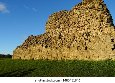 View of the Roman city walls, standing up to 5 meters high, at the Roman city Isca (today Caerwent, Wales, U.K.) -  1st century CE.