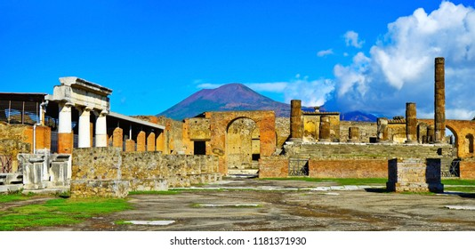 View of the roman ruins destroyed by the eruption of Mount Vesuvius centuries ago at Pompeii Archaeological Park in Pompei, Italy.