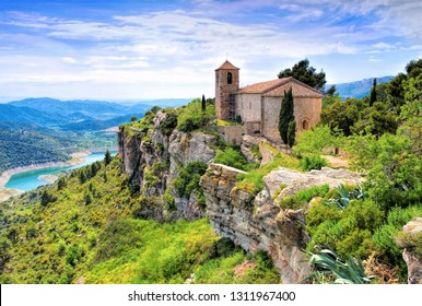 View of the Romanesque church of Santa Maria de Siurana in Catalonia, Spain