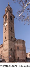 view of Romanesque san Michele church  bell tower and apse, shot in bright winter light at Cremona, Lombardy,  Italy