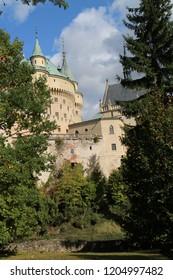 View to romantic Bojnice castle with garden in Bojnice, Slovakia