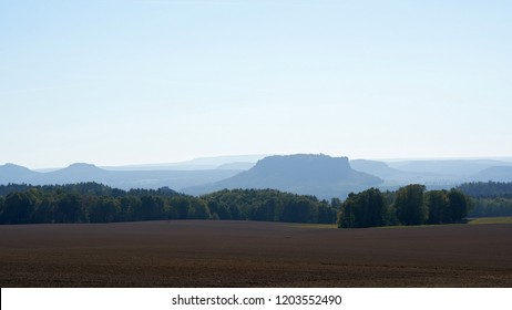 View of the romantic Elbe Sandstone Mountains with the Lilienstein