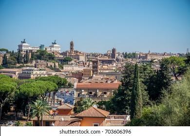 View of Rome from Giardino degli Aranci (the Orange Garden) on Aventino hill