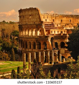 View of Rome, Italy - Coliseum.