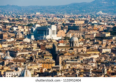 View of Rome from the St. Peter dome looking at the Altare della Patria