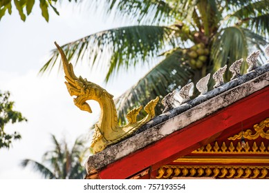 View of the roof of a buddhist temple, Louangphabang, Laos. Close-up
