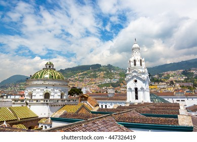 View from the roof of the cathedral with populated hills visible in the background in the historic colonial center of Quito, Ecuador