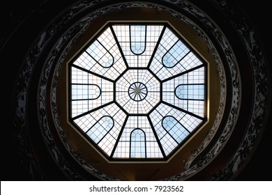 View of the roof windows of the double helix staircase