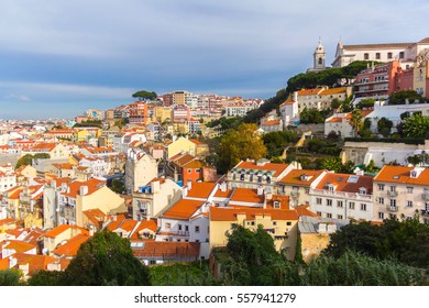 View of roofs in Lisbon, Portugal