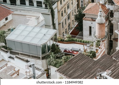 View of roofs and modern terrace from the Galata Tower, istanbul