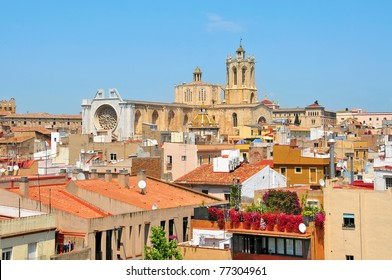 view of roofs of old town and Cathedral of Tarragona, Spain