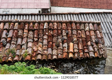 View of the roofs of older buildings, each roof has a different color and type of roofing, tile, corrugated iron