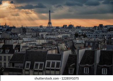 View of the roofs of Paris, France
