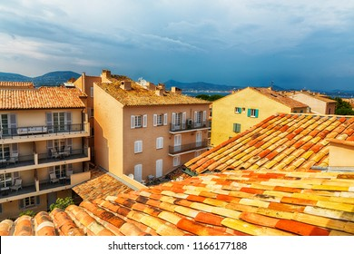 view at roofs  in San Tropez, Cote d'azur , France