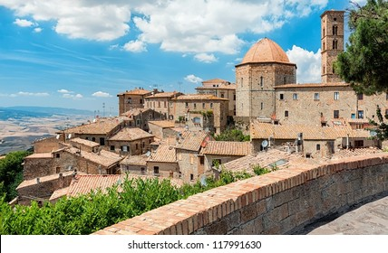 "View of the roofs of a small town ""Volterra"" ; in Tuscany, Italy"