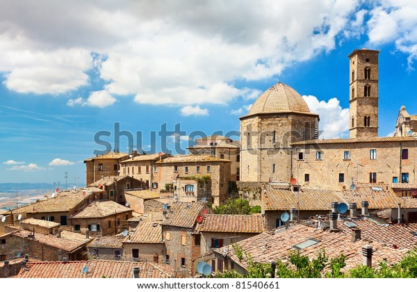 "View of the roofs of a small town ""Volterra""  in Tuscany, Italy"