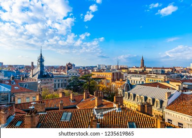 View of the roofs of Toulouse in Occitania, France