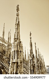 View of the rooftop of the Milan Cathedral in a sunny day in Milan.