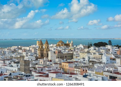 View of the rooftops of Cadiz the Tavira . Top view of Cadiz, city in Andalusia, Spain.