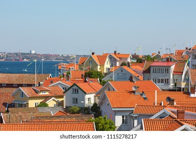 View of rooftops in a coastal settlement on the Swedish west coast