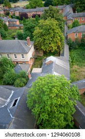 View of rooftops at a derelict lunatic asylum, Severalls, Colchester, Essex, England, UK