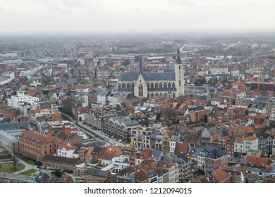 View of the rooftops and landmarks on the cityscape of Mechelen, Flanders, Belgium