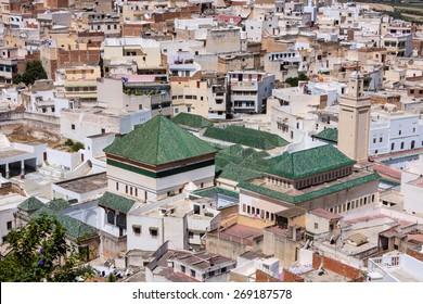 view of rooftops Meknes, Morocco