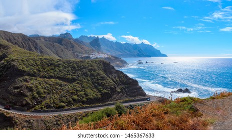 View of  Roque de las Bodegas beach in  Tenerife, Canary Islands. Spain. Taganana valley and Atlantic ocean landscape background