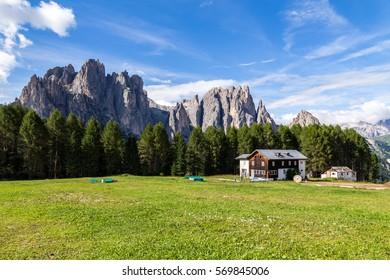 View of the Rosengarten (Catinaccio) in summer, in the Italian Dolomites