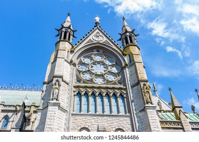 View of the rosette of St Colman's Cathedral, in the city of Cobh, Ireland