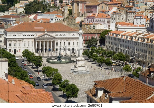 View of the Rossio Square from the Santa Justa Lift in Lisbon, Portugal.  Also known as Pedro IV Square (Praca de D. Pedro IV), it has been one of its main squares since the Middle Ages.
