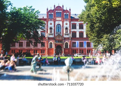 View of Rostock city old town market square with Town Hall, historical center, Germany