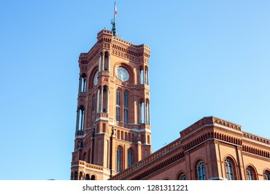 View of Rotes Rathaus or Berlin Town Hall with blue sky background on Alexanderplatz in Berlin, Germany. December 2018.
