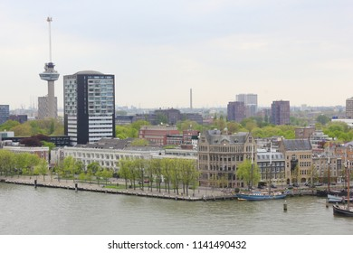 View of Rotterdam across the river from the cruise terminal