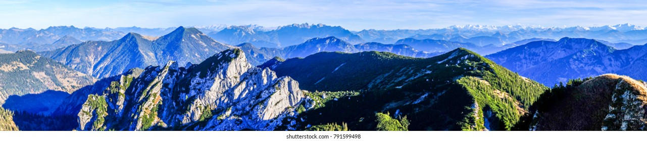 view from rotwand mountain at the mangfall mountains - bavaria