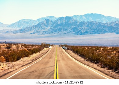 View from the Route 66, Mojave Desert, Southern California, United States.