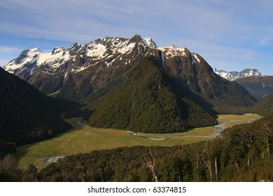 View of the Routeburn Flats from Great Walk Track in the Mt Aspiring National Park and Fiordland, New Zealand