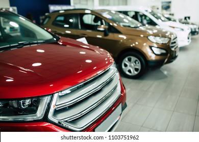 View of row new car at dealership showroom