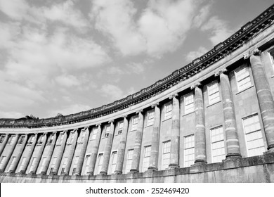 View of the Royal Crescent in Bath England - The Royal Crescent Comprises of Luxury Georgian Era Town Houses